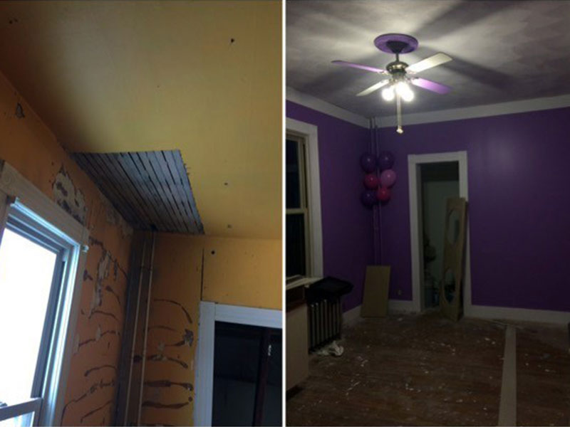 room interior before and after painted and ceiling repair - Specialty Gallery